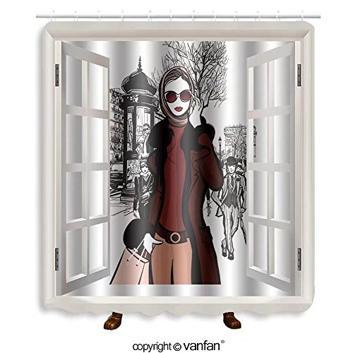 Vanfan designed Windows 309062792 Woman shopping on Champs-elysees in Paris with Arc Shower Curtains,Waterproof Mildew-Resistant Fabric Shower Curtain For Bathroom Decoration Decor With Shower - Palm Outlet Springs Shopping
