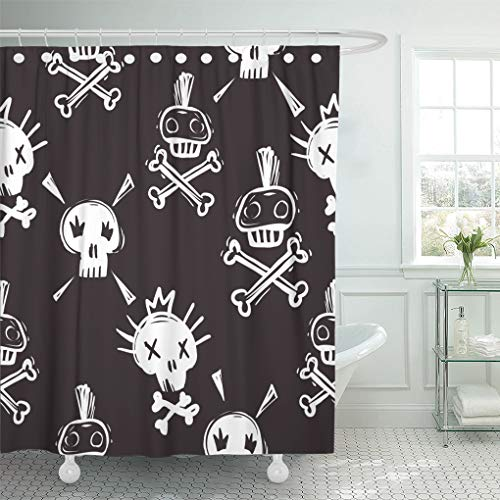Emvency Shower Curtain 72x78 Inch Home Decor Rock and Roll Funny Punk Skulls Hard Doodle Cartoon Star Iconic for Music Band Shower Hooks Set are -