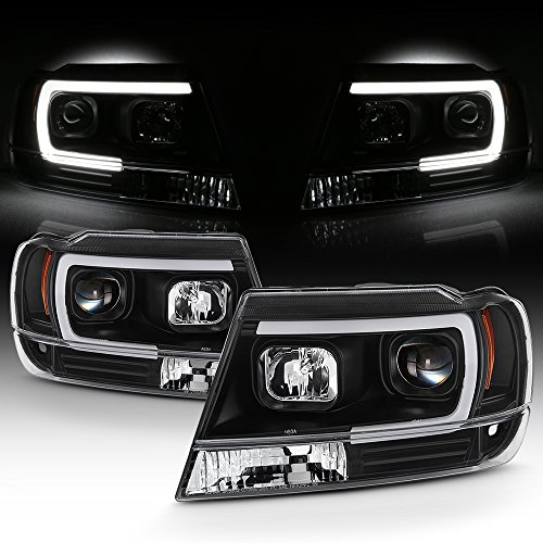For 1999-04 Jeep Grand Cherokee Full LED Daytime Running Lamp Bar Projector Headlights Black Housing Clear Lens Set