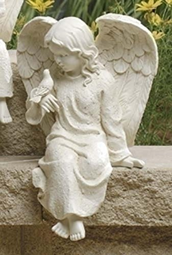 "8.75"" Inspirational Statuary Sitting Cherub Angel and Bird Outdoor Garden Statue"