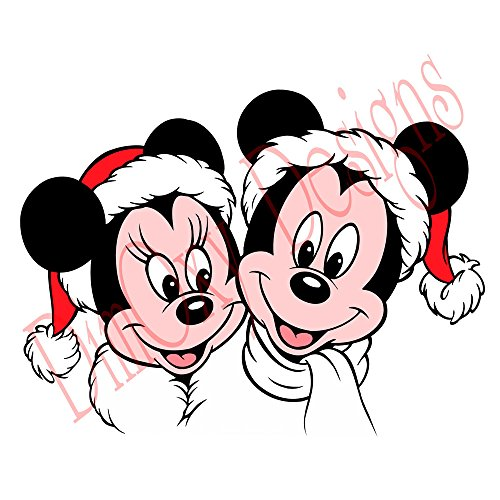 One Stop Decals Disney Mickey and Minnie Wearing Santa's Costumes. Christmas and Holidays Static Cling Decoration for Windows, Mirrors or Polished Metal Surfaces. (12