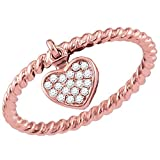 Womens 10K Rose Gold Band Style Ring Love Heart Rope Stackable Enhancer 1/10 CT