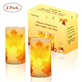 Greluna Flameless Maple Leaf Candles, Fall Flameless Candles with Timer for Thanksgiving Decorations and Gift, Set of 2