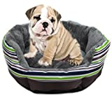 "YUHUAWYH Pet Cats Beds Dog Sofa S M L Removable Mat (L:Dimeter:68cm/22.6"", green stripe)"