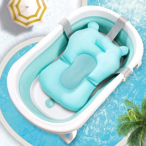 LANOA Baby Shower Bath Tub Pad Non-Slip Bathtub Seat Support Mat Safety Security Bath Support Cushion Foldable Soft Pillow-1