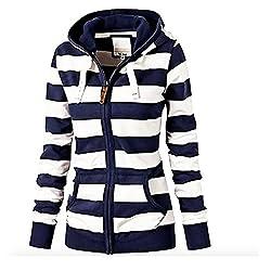 Neal Link Women S Casual Stripe Lightweight Sweatshirts Long Sleeve Zipper Striped Hoodies Lable Size 3xl Us Size Xl Blue White