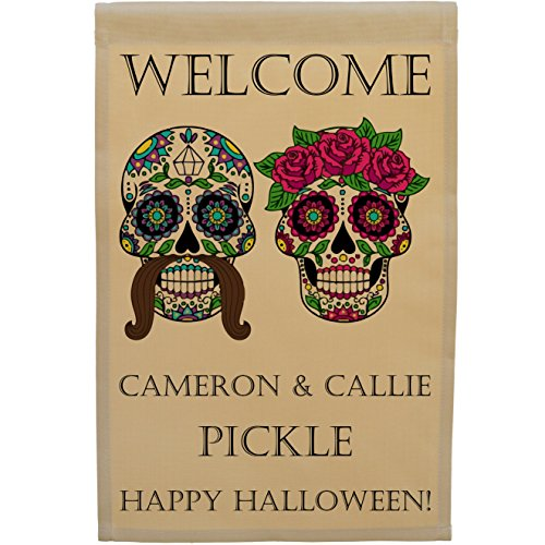 Personalized Halloween Garden Flag or Wall Hanging, Mr and Mrs Sugar Skulls, Day of the Dead, Calavera Skulls, (Tan (Halloween Day Of The Dead Differences)