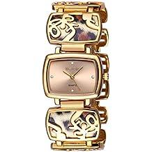 Luismia Women Gold Watch, Square Dial Plate Quartz Watch with Rhinestone Marks, Leopard Charm Bangle Bracelet Watch for Lady, Luxury Jewelry Diamond Watches -Waterproof Brand