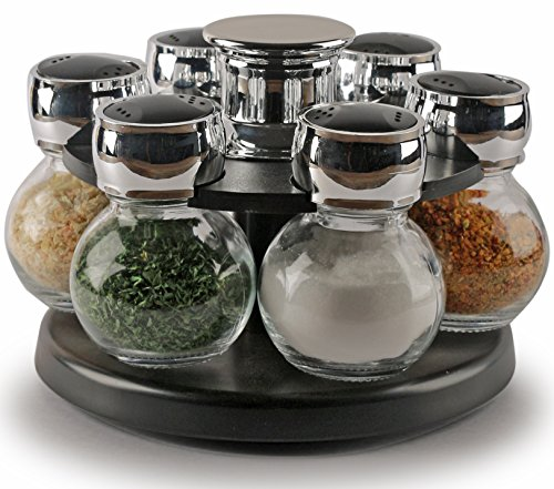(Palais Glassware Tournant Collection, Revolving Countertop Carousel Herb and Spice Rack with 3.5 Oz Glass Jars (Set of 6 Jars))