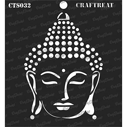 CrafTreat Stencil - Buddha - Reusable Painting Template for Journal, Notebook, Home Decor, Crafting, DIY Albums, Scrapbook and Printing on Paper, Floor, Wall, Tile, Fabric, Wood 6x6 inches