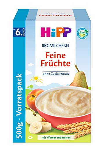 frutas Cereales Hipp Leche Orgánica Bellas, 4-Pack (4 x 500g)