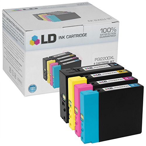 LD © Compatible Replacements for Canon PGI-2200XL 4PK HY Ink Cartridges: 1 9255B001 Black, 1 9268B001 Cyan, 1 9269B001 Magenta, & 1 9270B001 Yellow for Maxify iB4020, MB5020, & MB5320