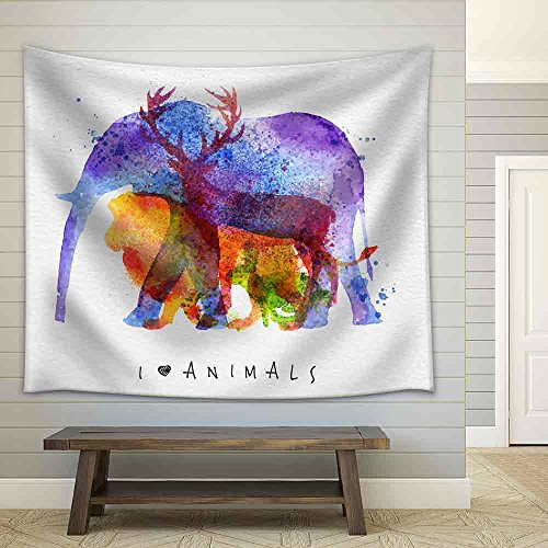 Color Animals Elephant Deer Lion Rabbit Drawing Overprint on Watercolor Paper Background Lettering I Love Animals Fabric Wall