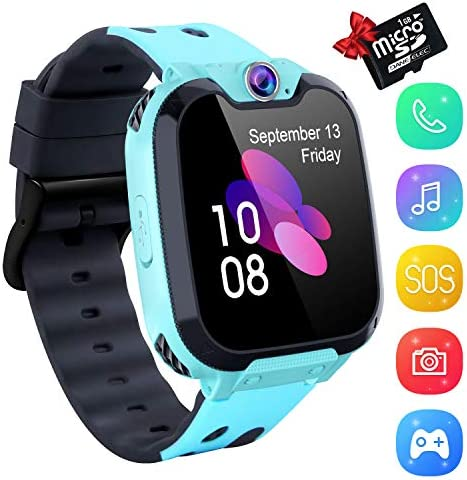 Kids Smartwatch Music Player – 1.54 inch HD Touchscreen Smart Watch Boys Girls with Camera Two-Way Call SOS Calculator Alarm Clock Games Music Watches for 4-12 Year Old [1GB SD Card Include] (Blue)