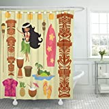 TOMPOP Shower Curtain Luau Hawaii Symbols and Including Hula Dancer Tiki Gods Totem Pole Drums Torches Hawaiian Party Girl Waterproof Polyester Fabric 72 x 78 Inches Set with Hooks