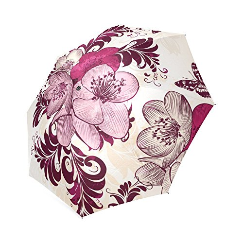 [Butterfly 100% Polyester Pongee Waterproof Foldable Travel Fashion Umbrella] (Wire Bra Costume)