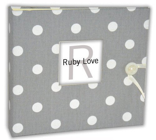 Gray Polka Dot Baby Memory Book - Ruby Love Baby Book