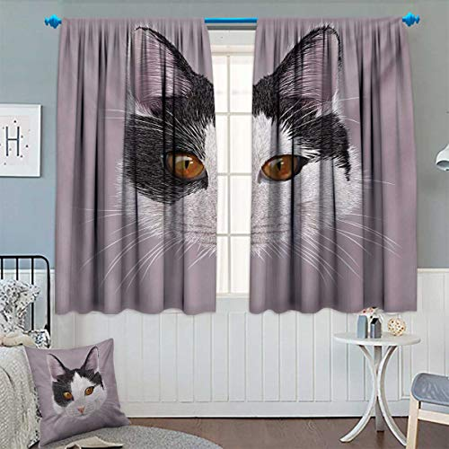 (Anhounine Animal,Blackout Curtain,Cute Cat Kitty Portrait Young Domestic with Funny Whiskers Pet Humor Graphic,Waterproof Window Curtain,Lilac Black White,W72 x L45 inch)