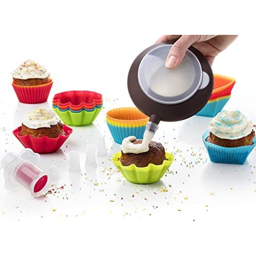 Pack of 24 Baking Muffin Molds Silicone Cupcake Liners + Corer Plunger + Cake Decorating Kit Bag Pen + 5 Icing Tips by Maxi Nature