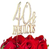 LOVENJOY with Gift Box 40 Forty and Fabulous Happy Birthday Milestone Cake Decoration Topper Gold (5.5-inch)