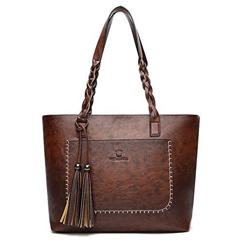 Women Vintage PU Leather Tote Travel Shoulder Bag Handbag Big Large Capacity Bag Dark Brown Top-Handle Bags (Vintage Shoulder Handbag)