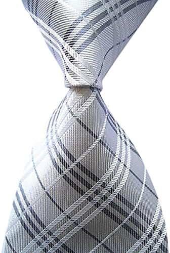 Allbebe Men's Classic Checks Silver Jacquard Woven Silk Tie Necktie