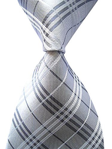 Secdtie Men's Classic Checks Silver Jacquard Woven Silk Tie Formal Necktie