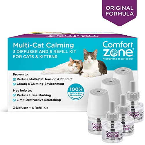 Comfort Zone BASIC Multicat Diffuser Kit for Cat Calming, 3 Diffusers, 6 ()