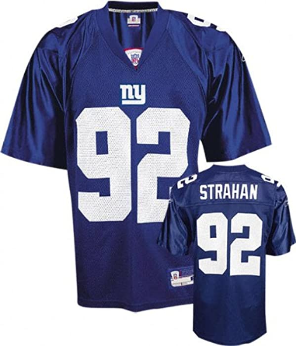 super popular 09bb8 56871 reebok new york giants michael strahan 92 blue authentic ...