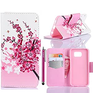 Galaxy S6 Case, FIBEST Cute Slim Flip Folio Wallet Leather Case Stand Cover with Card Slot for Samsung Galaxy S6 VI G920+Stylus Pen