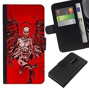 ZCell / LG G2 D800 / Angel Death Red Blood Wings Skull / Caso Shell Armor Funda Case Cover Wallet / Ángel Muerte Rojo Sangre alas Cr&aacut