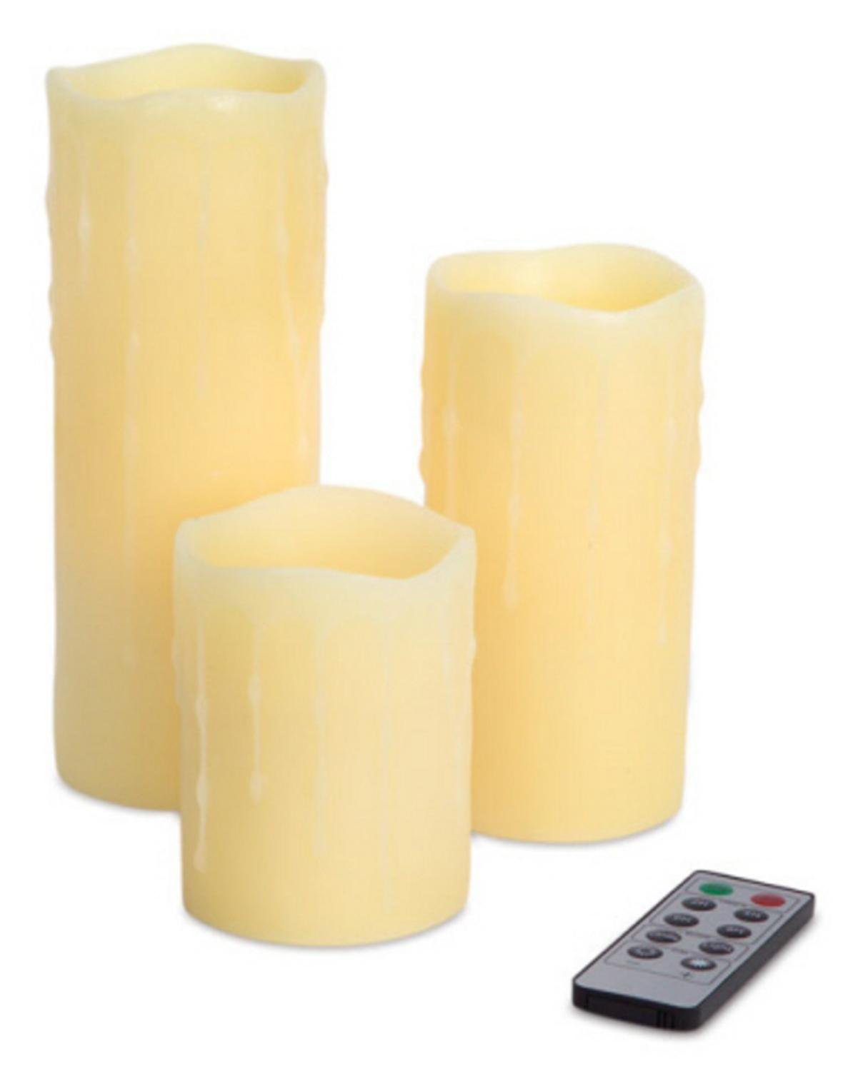 6 Ivory Dripping Remote Controlled Battery-Operated LED Flameless Pillar Candles