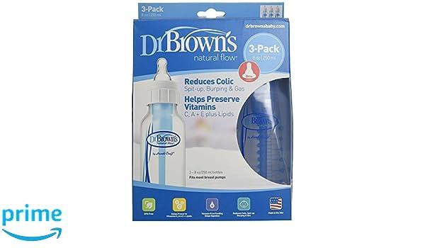 Amazon.com : Dr. Browns BPA Free Polypropylene Natural Flow Standard Neck Bottle 3-Pack (8 Oz, 2 Pack) : Baby