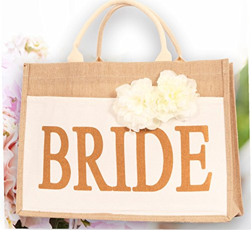 Bridal Shower Gift Bags, Bride Bag - Bride Tribe Tote - 100% Linen and Cotton, Interior Pocket - Wedding Favors - Bridal Shower Gift - Bachelorette Parties - Bride to Be - Bridal Shower Unique Gifts by Meant2ToBe