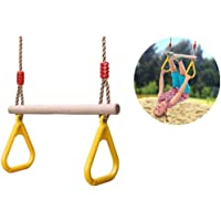 COMINGFIT Wooden Trapeze Swing with Plastic Triangular Gym Rings for Kids