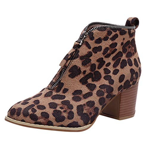 Aniywn Women Ladies Zipper Bootie Short Boots LeopardSolid Print Casual Chunky Heels Booties Low Heel Shoes(Brown,36)
