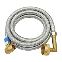 LASCO 10-0981 Stainless Steel Braided Dishwasher Supply Flex 3/8-Inch Compression and 72-Inch with 3/4-Inch Female Hose Thread