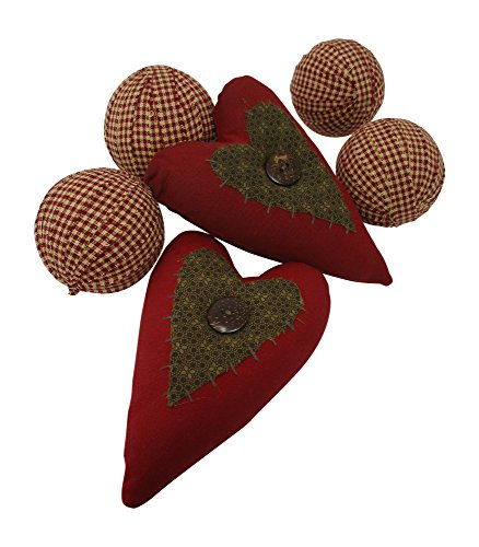 Rag Balls and Gingham Hearts Valentine's Day Primitive Fabric Rag Balls Wine and Tan Bowl Fillers Set of 6