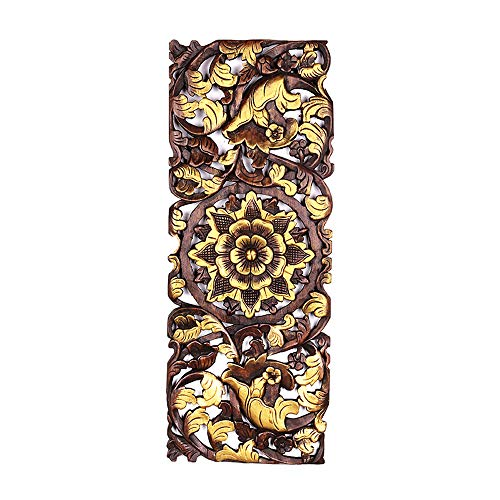 LS- Furniture Decoration Wall Hangings, Chinese Teak Carved Wall Decoration, Southeast Asian Style Wood Carving, Wall Hanging Decoration Pendant Size: 90x60x4cm /&