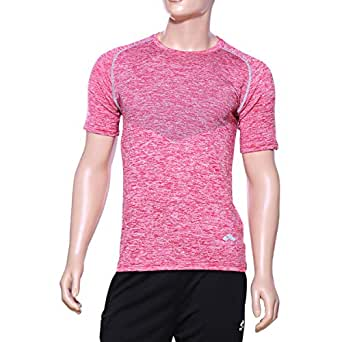Matris Red Polyester Round Neck T-Shirt For Men
