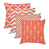 Accent Home Square Printed Cotton Cushion Cover,Throw Pillow Case, Slipover Pillowslip for Home Sofa Couch Chair Back Seat,4pc Pack 18x18 in Coral Color