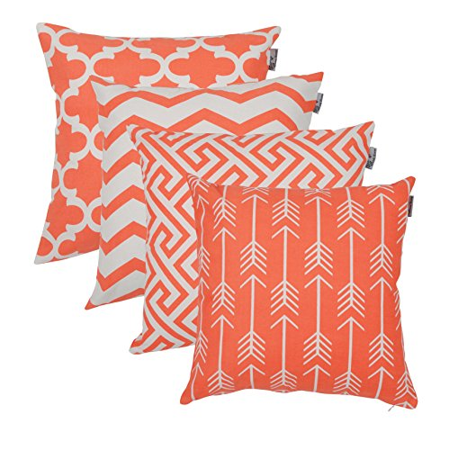 Accent Home Square Printed Cotton Cushion Cover,Throw Pillow Case, Slipover Pillowslip For Home Sofa Couch Chair Back Seat,4pc pack 18x18 in Coral color (Printed Coral)