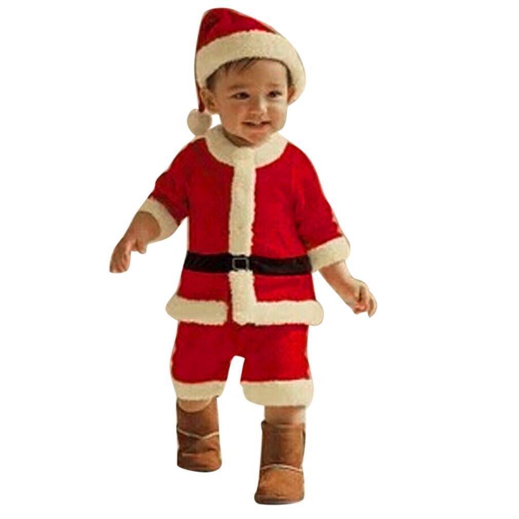 Weihnachten Kinderkleidung Hirolan Kleinkind Kinder Weihnachten Party Kleider Baby Jungen Kostüm Lange Ärmel T-Shirt Hose Hut 2T-12T Patchwork Outfits