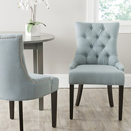 Safavieh Mercer Collection Ashley Dining Chair, Sky Blue and Espresso, Set of 2 (Birchwood Finish Table)