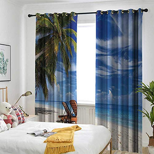(Seaside Decor Collection Grommet Indoor Curtains Two Beach Chairs on The Tropical Sand Beach Under Palm Trees Picture Print Curtains for Living Room 84