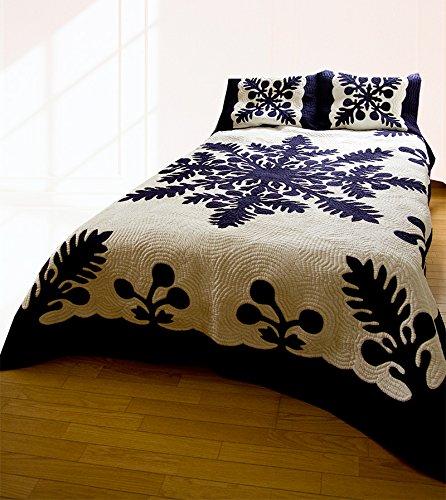 (ラナイブルー) ハワイアンキルト 本格手縫 マルチカバー ベッドカバー ベッドスプレッド Lサイズ B07F63TH6V