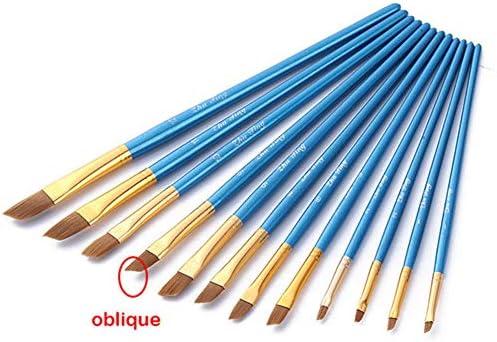 12ピース/セットアーティストペイントブラシセットアクリル油水彩画クラフトアートモデルペイントbyナンバーペンブラシ (青い斜め)