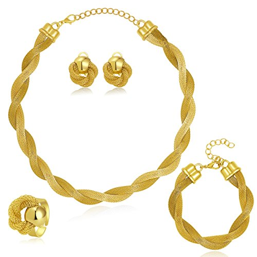 MOOCHI Africa Style Gold Plated Necklace Earrings Bracelet Ring Jewelry Set (Golden)