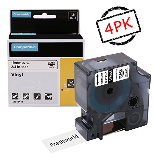 Replace Industrial Dymo Rhino 18445 Permanent Vinyl Labels Tape, Compatible with DYMO Rhino 4200,5000,5200,6000,RhinoPro Label Maker, Industrial LabelWriter, Black on White, 3/4Inch x 18Feet, 4 Rolls