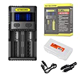 Nitecore SC2 Superb Charger 3A Speedy Charger for 18650 RCR123A 16340 14500 & Batteries plus Wall, Car Charging Adatpers, LumenTac Battery Organizer